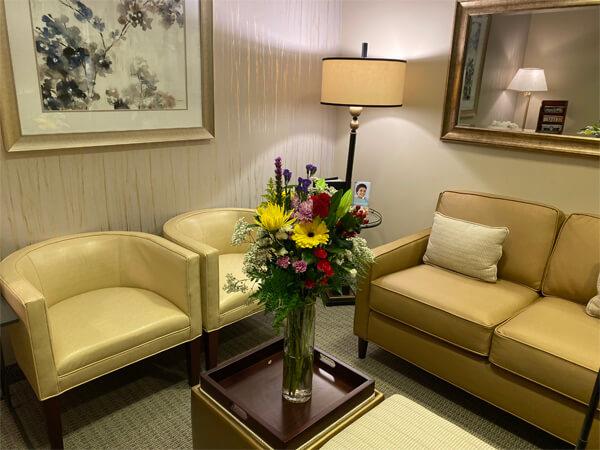 pretty flower arrangements at Sachar dental NYC