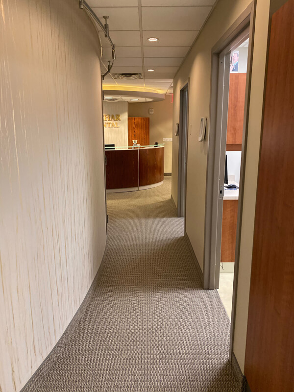 hallway from waiting area to exam rooms Sachar dental NYC