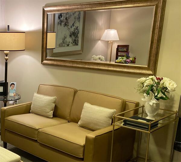 stylish furniture in waiting room at Sachar dental NYC