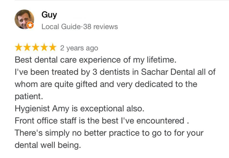 Picture of a review written by patient of Sachar Dental NYC on Google