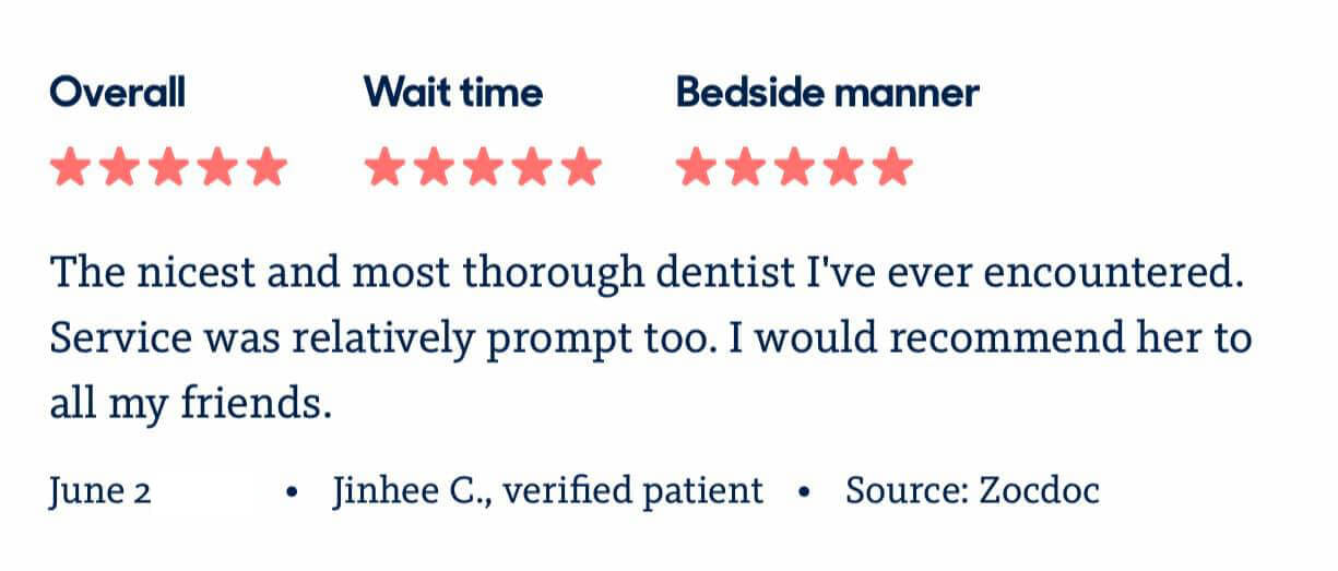 picture of 5 star review Sachar Dental NYC