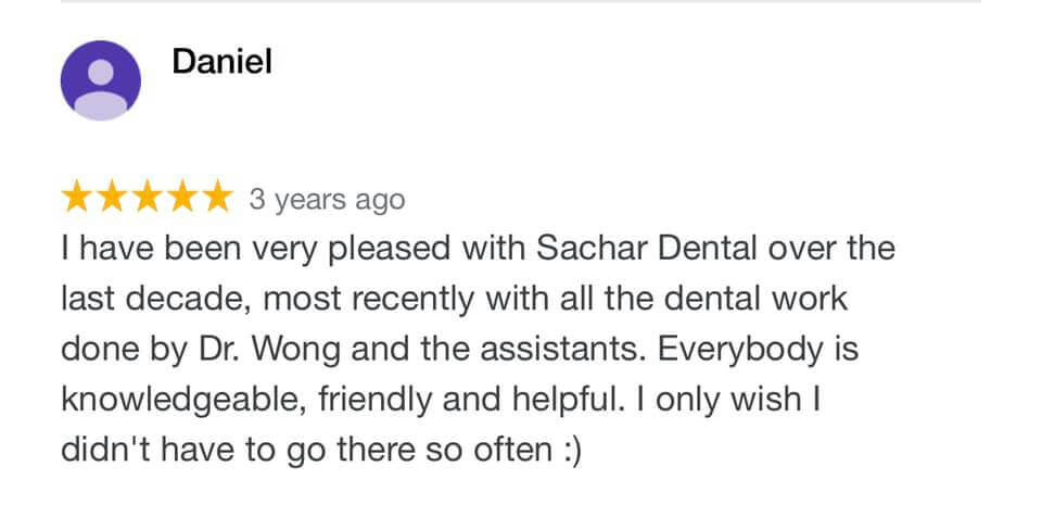 Picture of a 5 star patient review from Google