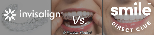 Picture of Invisalign trays in the background with logos for smile direct club and Invisalign indicating Invisalign vs smile direct club